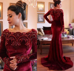 Saudi Arabic Dresses 2017 Elegant Burgundy Velvet Long Sleeves Mermaid Evening Dresses Beaded Collar Dark Red Prom Gowns