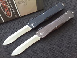 Wholesale Microtech Marfione Custom Combat Troodon Recurve Knife T6 Aluminum quot Hand Satin CNC D2 steel Plain Tactical knives w nylon sheath