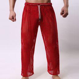 Wholesale Sexy Sheer Mesh Pants - Wholesale-Sexy men lounge long pants sleepwear sleep bottoms sheer see through mesh sexy hot new designer waist 2016 home gay wear hot