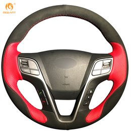 Mewant Black Suede Red Leather Car Steering Wheel Cover for Hyundai Santa Fe 2013 2014 2015 Hyundai ix45