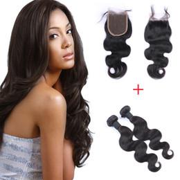 3Pcs Lot Brazilian Body Wave Virgin Hair With Closure Grade 8A Unprocessed Human Hair Weave Bundles 2pcs 50g pcs Top 4*4 Lace Closures