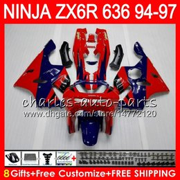 8Gifts 23Colors For KAWASAKI NINJA ZX636 ZX6R 94 95 96 97 ZX-6R ZX-636 TOP red blue 33HM6 600CC ZX 636 ZX 6R 1994 1995 1996 1997 Fairing kit