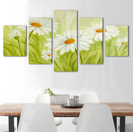 .Modern Wall Art Home Decoration Printed Oil Painting Pictures 5 Panel Beautiful White sunflower Mountain Landscapes