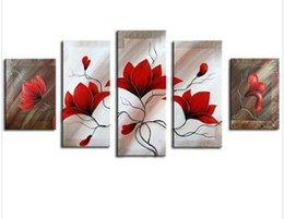 Handpainted Red Flower Oil Painting Huge 5 Panel Wall Pictures For Living Room Acrylic Floral Paintings Home Decor Canvas Art