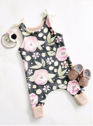 Wholesale 2017 News whosale baby girl summer flower print rompers infant toddlers suspender rompers newborn kids soft cotton bodysuit