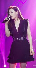 Jane Zhang with autumn wind Princess V black collar temperament slim slim waist sleeveless dress female