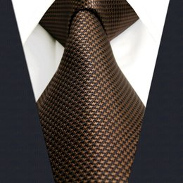 U27 Dark Khaki Houndstooth Mens Ties Silk Handmade Wedding Fashion Classic Brand New Dress Men's Accessories Necktie