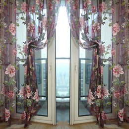 Wholesale Stylish Floral Tulle Voile Sheer Curtain Cortinas Panel For Living Room Wall Door Window Home Decor Drapery Valance m x m