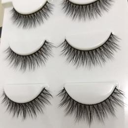 Cils de scène en Ligne-Nouveau multi-couche fil de coton noir 3D vison épais faux cils croix Messy faits à la main paillettes yeux naturels maquillage scène faux cils