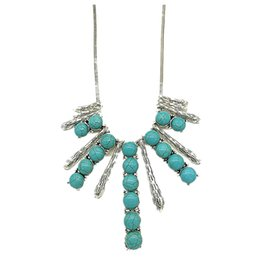 2017 new style Turquoise Square long Strip and Anti Silver Slender Drop Metal Chain Bohemian Style Earrings Necklace Sets