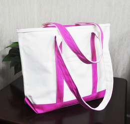 Wholesale Canvas Tote Beach Bag shoulder straps zippered top closure canvas bags are double stitched for durability to handle wet towels and beach