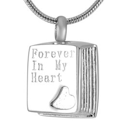 IJD9279 316L Stainless Steel Book type engrave forever in my heart cremation urn ashes Jewelry pendant necklaces