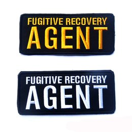 Wholesale 50 Fugitive Recovery AGENT tactical patch morale D Badge Fabric Armband Badges Stickers Morale Patches Military free ship