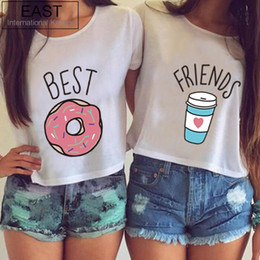 Wholesale EAST KNITTING H599 Hot Summer Women T shirt Funny Best Friends T Shirt Donut And Coffee Duo Flowy Print Tees Couple Tops