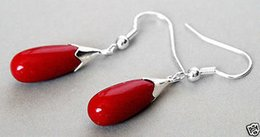 New Pair Red Coral 925 Sterling Silver Hook Teardrop Dangle Earrings>>> free shipping