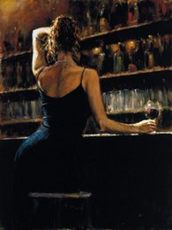 Woman Wine Bar Art ,Pure Hand Painted Abstract Portrait Art Oil Painting On Canvas.any customized size accepted linglin