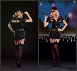 Wholesale 2017 Sexy Black Female Police Role Play Dress Customs Police Uniform Sexy Cosplay