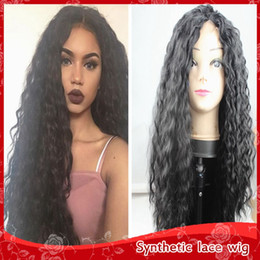 New Sexy Black Kinky Curly Hair Heat Resistant Glueless Brazilian Synthetic Lace Front Wigs with Baby Hair Cheap Curly Wigs for Black Women