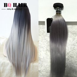 2017 paquetes brasileños remy 1b BQ Hair 8A Remy cabello humano cabello brasileño paquetes 3 paquetes Straight Wave Moda color 1b / sliver gris Ombre trenzar cabello paquetes brasileños remy 1b limpiar