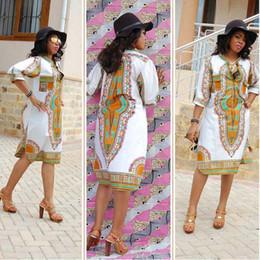 Племенные печатные издания для продажи-Летние платья Dashiki африканские платья для женщин Базен Riche Одежда Maxi Племенной печати Длинные O-образным вырезом с коротким рукавом Одежда