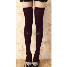 Promotion jambes sexy bas Vente en gros Hot New 2015 Hight qualité sexy femmes fille tricot sur les genoux de genou haut poids chauds des jambes Livraison gratuite Cheap Z1