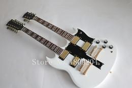 Guitare double goulots en Ligne-Vente en gros-2015 Nouvelle usine de guitare + guitare blanche double guitare électrique SG 12 cordes 6 cordes guitare électrique à double cou