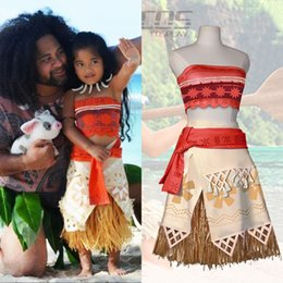 Wholesale Hot Movie Princess Moana Cosplay Costume for Kids Moana Princess Dress Children Halloween Costume Party Dress CS016