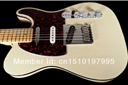 Wholesale Custom Shop USA TELE AMERICAN DELUXE TELECASTER TRANS WHITE Electric Guitar Dot Fingerboard Inlay Wine Red Turtle Pickguard Body Binding