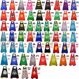 Wholesale x70CM Kids Superhero Capes Double Sides Satin Fabric Superhero Cape Mask Party Supplies for Children s Birthday Party