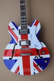 Syndicats d'usine à vendre-Vente en gros-meilleur marché de bonne qualité usine Epiphene 335 guitare électrique Union Jack Top Livraison gratuite