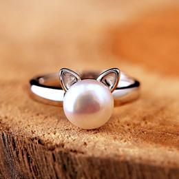 Promotion fille chat cru Vintage rétro belle perle anneau de chat pure 925 anneaux en argent sterling ouvert anneaux femmes Jeune fille cadeau pour enfants anneau réglable