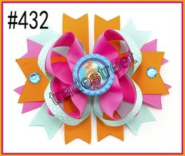 """free shipping 50pcs 4.5"""" Inspired Boutique Layered Hair Bow birthday hair bows girl hair clips -D"""
