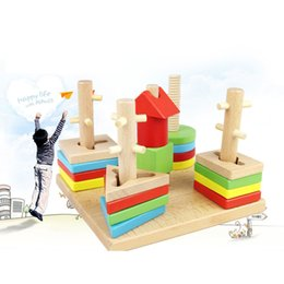 Fashion topping-on game Educational wooden toy 5 pillar matching color shape wood block Geometric Stacking Shape Matching baby kids toy