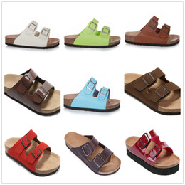 Famous Brand Arizona Unisex Men's Flat Heel Sandals Women Classcis Summer Casual Shoes Double Buckle Good Quality Genuine Leather Slippers