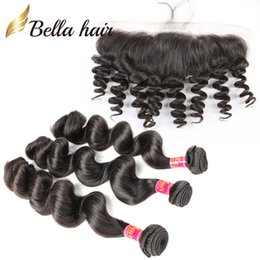 """Brazilian Hair Weaves With Lace Frontal (13x4"""") Virgin Human Hair Extensions Loose Wave Double Weft Peruvian Malaysian Indian Hair Bellahair"""