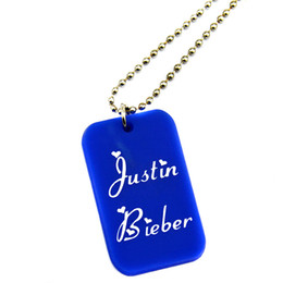 Wholesale 50PCS Lot Justin Bieber Silicone Dog Tag Necklace with 24 Inch Ball Chain Perfect Gift for Music Fans