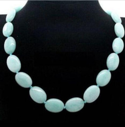 Pretty! 13x18mm natural Flat Oval Gemstone Beads Necklace 18inch