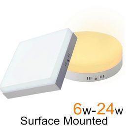 Поверхность панели для продажи-6W 12W 18W 24W Светодиодные панели огни Поверхность Настенные панели привели потолочные светильники теплый / холодный белый AC 85-265v
