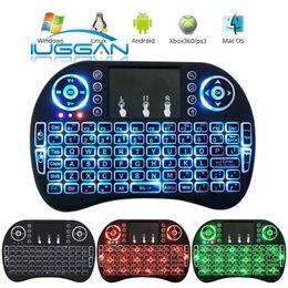 Teclado para juegos de luz de fondo azul en Línea-I8 teclado de juego Air Mouse Control remoto inalámbrico retroiluminación ROJO + Verde + Azul Luz con Touchpad Handheld para MXQ S905X S905 S912 TV BOX