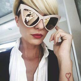 The New 2017 New Fashion Cat Eye Sunglasses Women Luxury Brand Designer Vintage Rivet Big Frame Gradient Sun glasses RA057