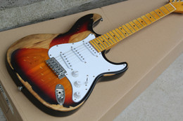 Guitar desert custom en Ligne-10S Custom Shop Vintage Desert Sunbust ST Strat Ocaster Relique Guitare électrique Elm Body Maple Neck Traditional Tunders Top Vente