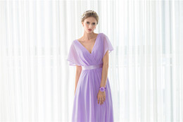 2018 New V Neck Pleat Purple Long Bridesmaids Evening Party Formal Celebrity Dresses Chiffion Sexy Women Prom Fashion A Line Gowns