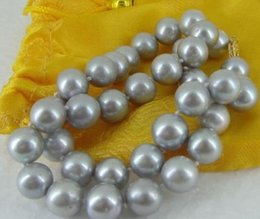 GORGEOUS 18 INCH 10-11MM SOUTH SEA SILVER GREY PEARL NECKLACE 14K Gold Clasp