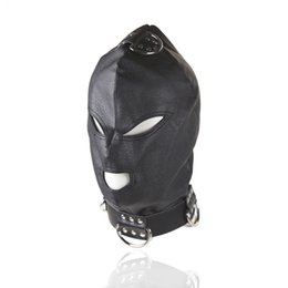 HOT TIME Erotic Sex BDSM Bondage Leather Hood for Adult Play Games Full Masks Fetish Face Blindfold for Couple Games