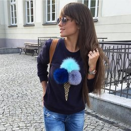 Wholesale New Design Fashion Ice Cream Printed Fur Ball Women T Shirts Cotton O Neck Long Sleeves Casual Lady Sweatshirts S XL