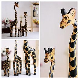 maisons en bois Promotion 3PC / Set Vintage Nordic Log Craft Cadeau Girafe Peint à la main Animal ornements en bois Décoration intérieure Bois Art Impression artisanat Jouet en bois YYA286