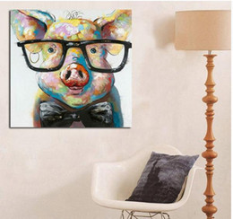 Framed Smart Pig,Pure Hand Painted contemporary WALL DECOR Abstract Animal Art Oil Painting On Canvas.Multi sizes Available wayfai C070