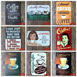 Wholesale COFFEE Vintage Tin Signs Retro Metal Sign Antique Imitation Iron Plate Painting Decor The Wall Of Bar Cafe Pub Shop Mixed designs