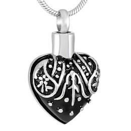 IJD9303 Stainless steel Black Heart shape cremation ash urn Pendants Necklace for pets dog memorial Jewelry fashion