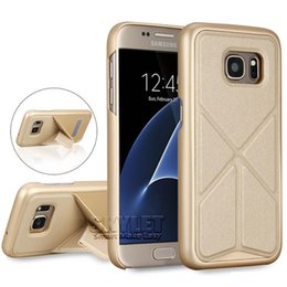 Wholesale For iPhone Kickstand Case Rugged Protector Hard PC Back Cover Case Magnet Adsorption Holder Case For Galaxy S7 S6 Edge with OPP Package